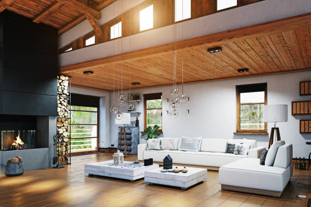 Modern chalet interior Modern chalet interior design. 3d rendering chalet stock pictures, royalty-free photos & images