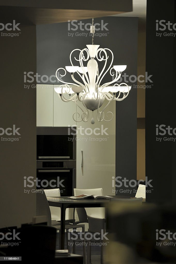 Modern Chandelier in Showcase Home royalty-free stock photo