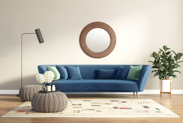 Modern chic classic interior with blue sofa and  stools stock photo