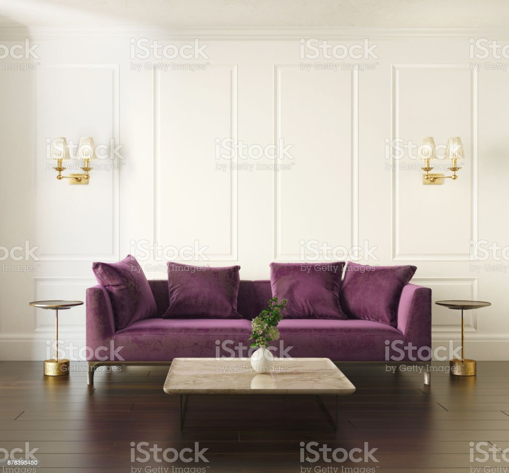 Modern chic classic interior with violet velvet sofa royalty-free stock photo