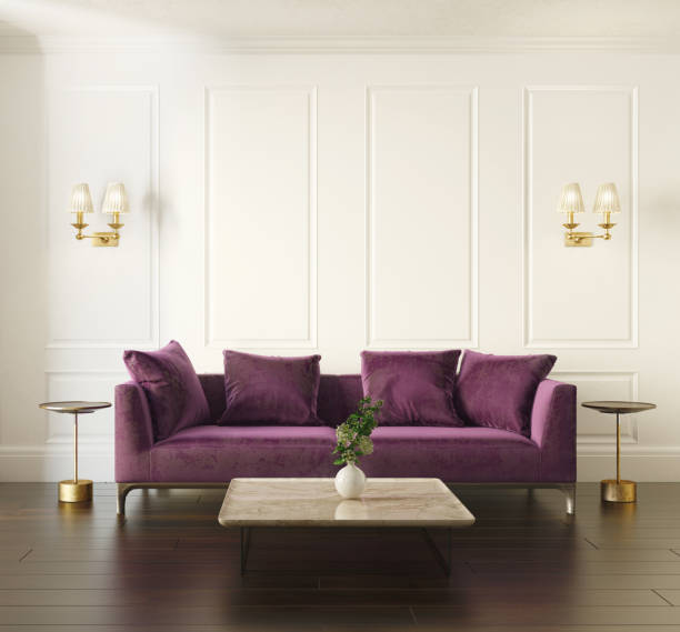 modern chic classic interior with violet velvet sofa - violet stock photos and pictures