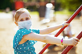 Life during covid-19 pandemic. Portrait of modern child in blue overall with medical mask on the playground outdoors in the city.