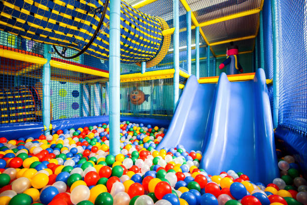 modern children playground indoor - softness stock pictures, royalty-free photos & images