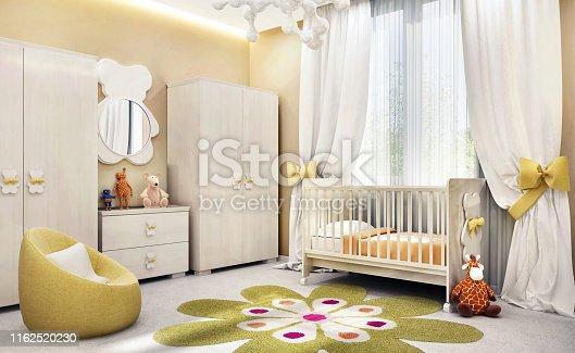 1213866189 istock photo Modern children`s room for baby 1162520230