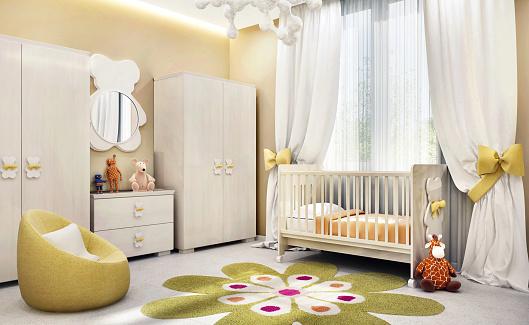 Modern children`s room for baby