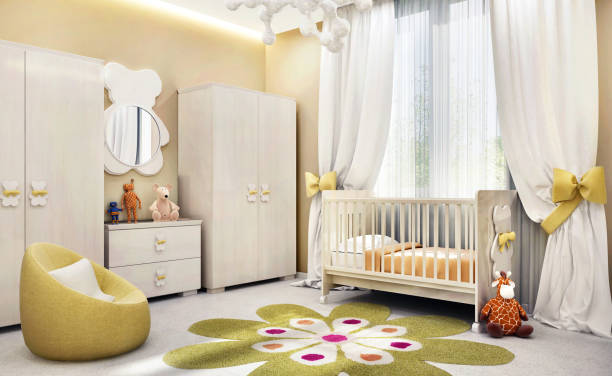 modernes kinderzimmer für babys - schlafzimmer stock-fotos und bilder