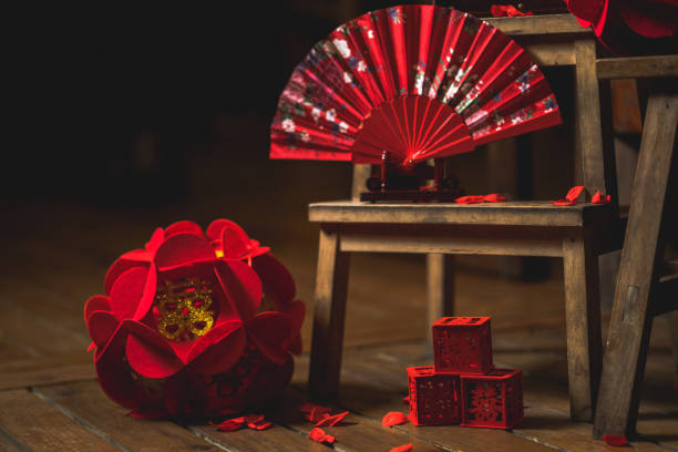Modern Chinese Wedding Decor And Ornaments stock photo