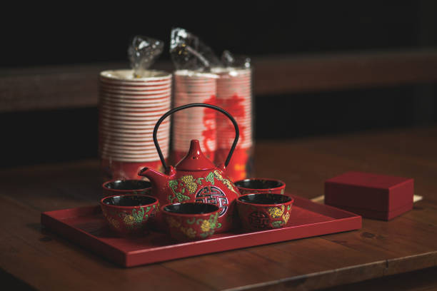 Modern Chinese Wedding Tea Ceremony Tea Pot stock photo