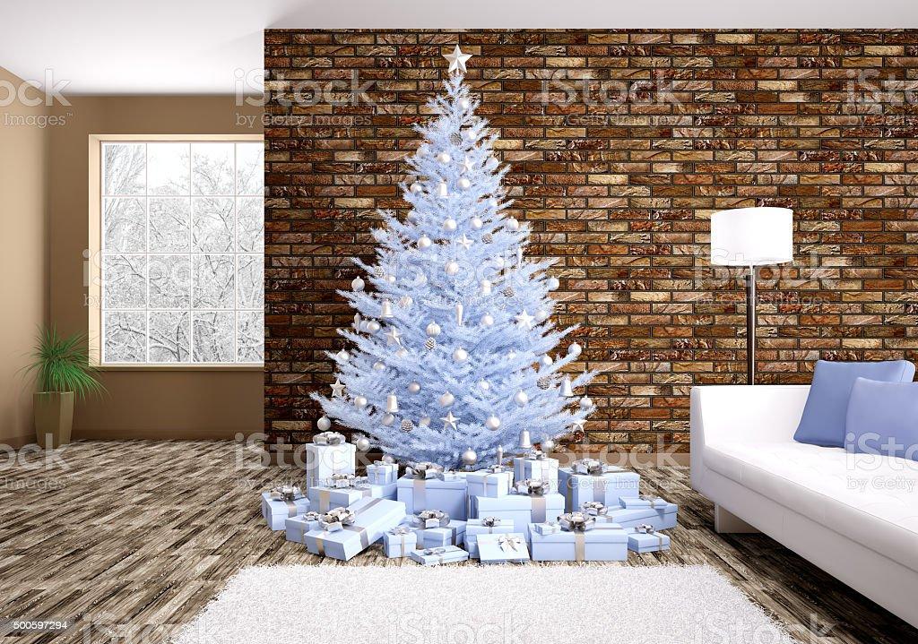 Modern christmas interior 3d rendering stock photo