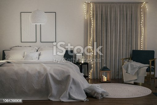 Picture of modern bedroom with Christmas decoration. Render image.
