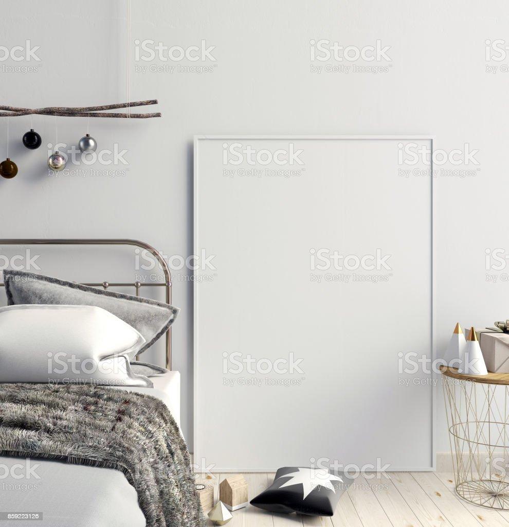 Modern Christmas interior of bedroom, Scandinavian style. 3D illustration. poster mock up stock photo