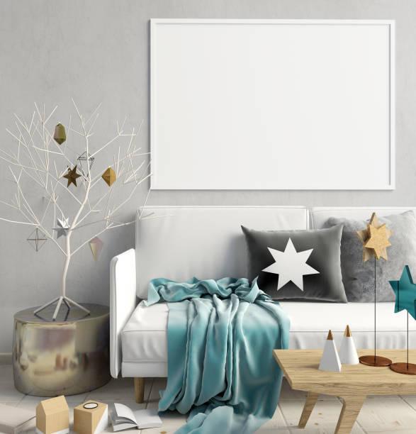 moderne weihnachten interieur des skandinavischen stil. 3d illustration. mock-up poster - weihnachten haus dekoration stock-fotos und bilder