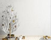 Modern Christmas interior of Scandinavian style with shining lights Christmas tree. 3D illustration. poster mock up