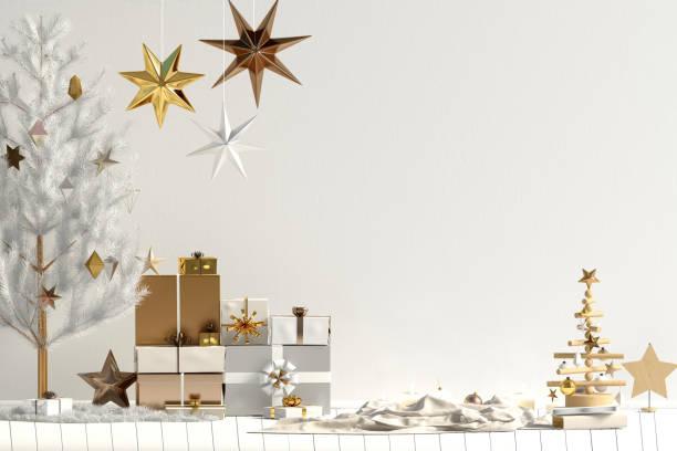 moderne weihnachten interieur, skandinavischen stil. mock-up wand. 3d illustration - holzdeko weihnachten stock-fotos und bilder