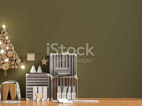 1164401366 istock photo Modern Christmas interior, Scandinavian style. Wall mock up. 3D illustration 1082806044