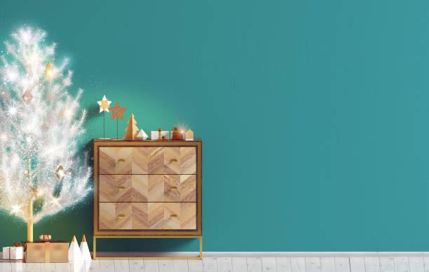 moderne weihnachten interieur mit kommode und weihnachtsbaum, skandinavischen stil. mock-up wand. 3d illustration - sideboard skandinavisch stock-fotos und bilder