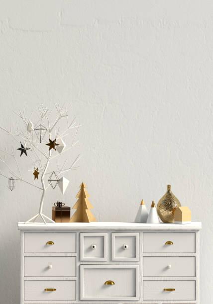 modernes weihnachten interieur mit kommode, skandinavischen stil. mock-up wand. 3d illustration - anrichte weiß stock-fotos und bilder