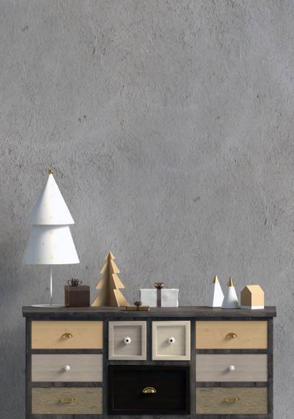 modernes weihnachten interieur mit kommode, skandinavischen stil. mock-up wand. 3d illustration - sideboard skandinavisch stock-fotos und bilder