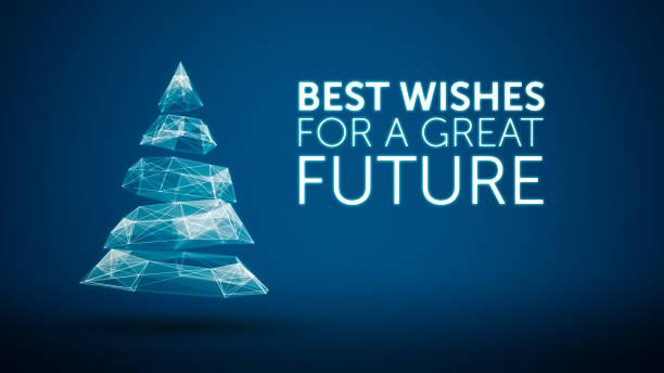 moderne weihnachtsbaum und wünsche tolle zukünftige saison grüße nachricht auf blauem hintergrund. eleganten urlaub saison soziale digitale karte für technologie, futuristische geschäft - zukunftswünsche stock-fotos und bilder
