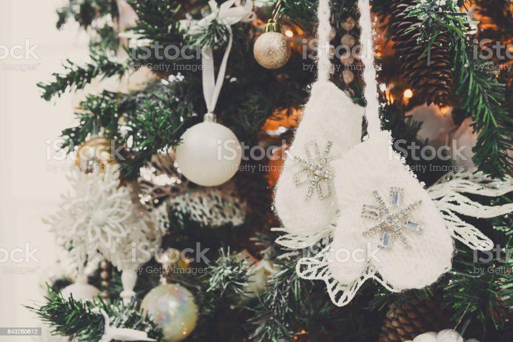 Modern christmas tree decoration background stock photo