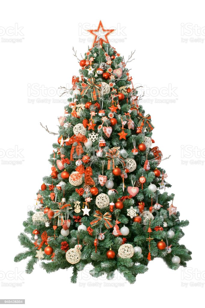 modern christmas tree isolated on white background decorated with vintage ornaments ratan balls - Christmas Tree Decorated With Vintage Ornaments