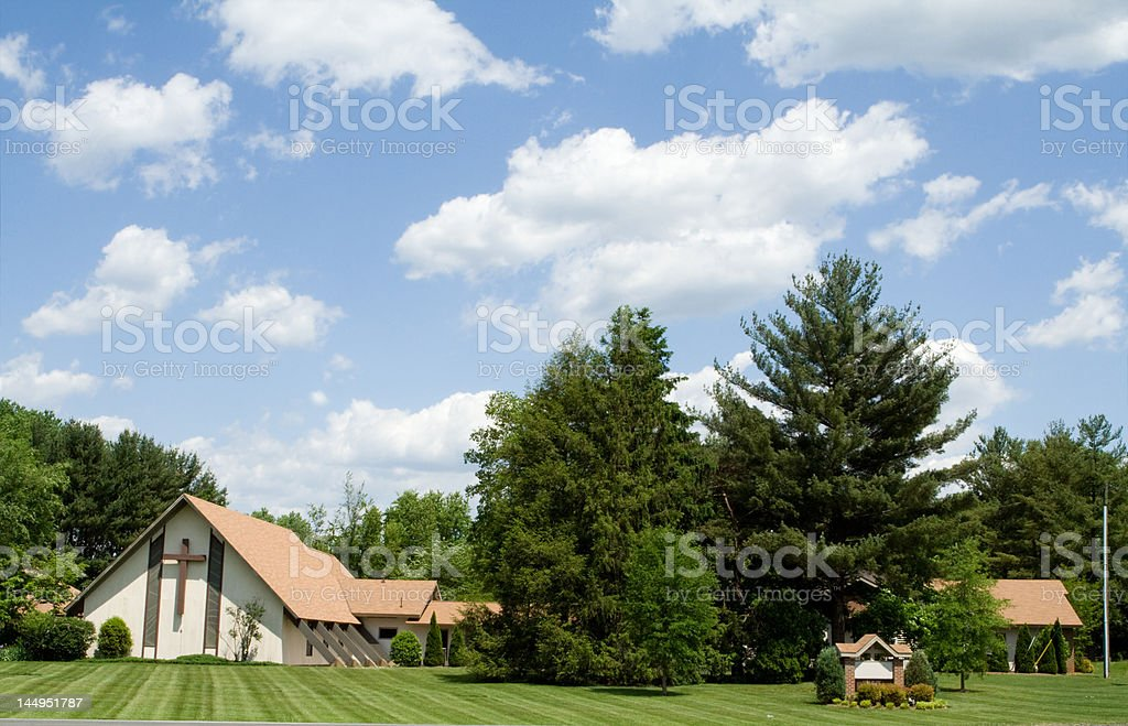 Modern Church A Frame Roof, Lawn, Trees, Blue Sky royalty-free stock photo