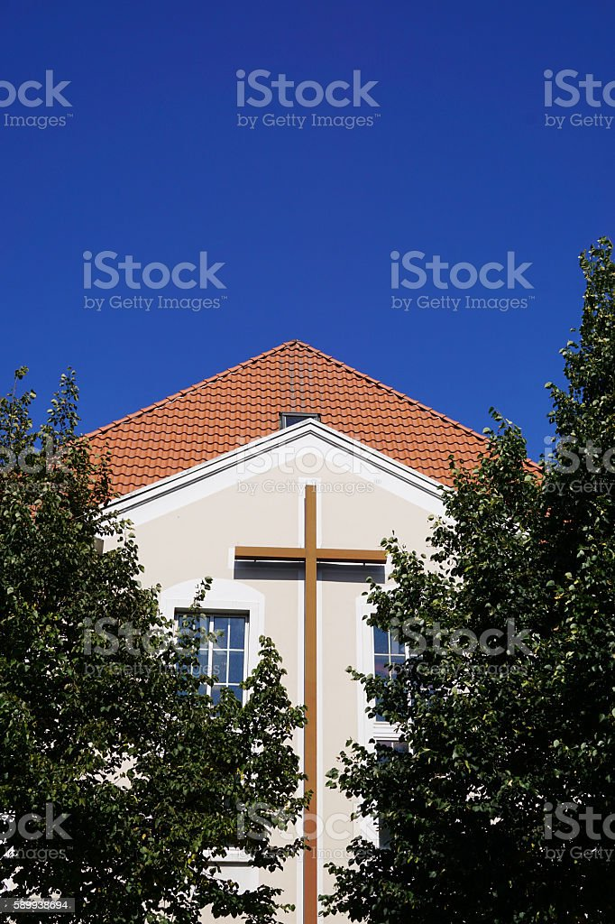 Modern Church Building With Christian Cross Stock Photo - Download