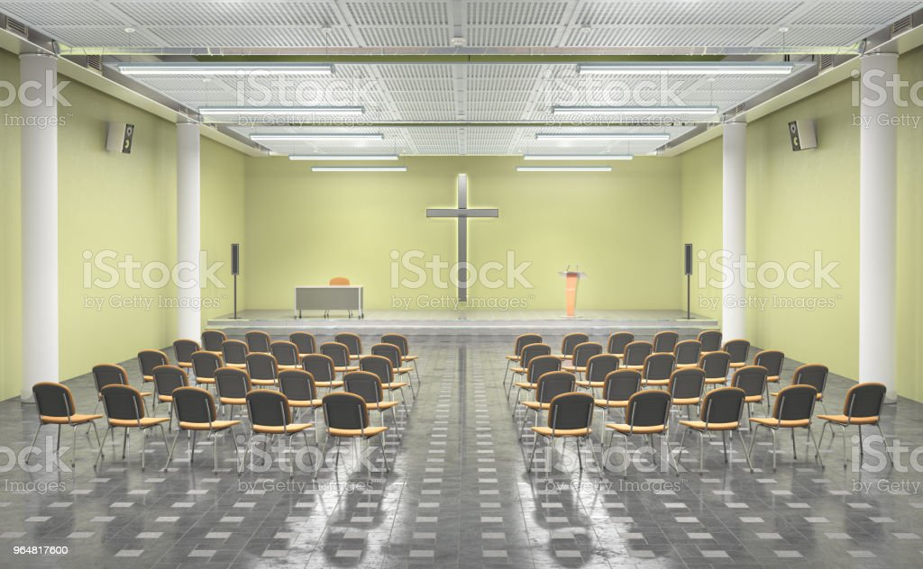 Modern church inerior. 3d illustration royalty-free stock photo