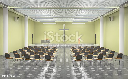 Modern Church Inerior 3d Illustration Stock Photo & More Pictures of Apartment
