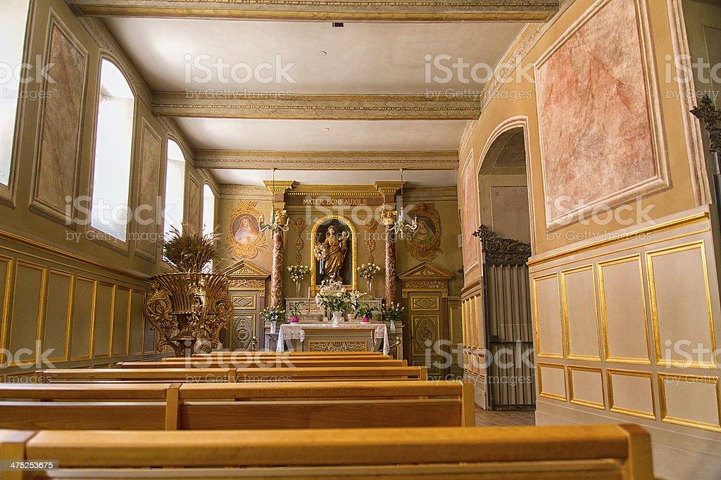 Altar in a modern wooden church