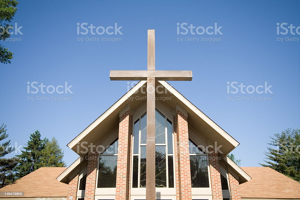 Modern Church with Big Cross in Front, Blue Sky royalty-free stock photo
