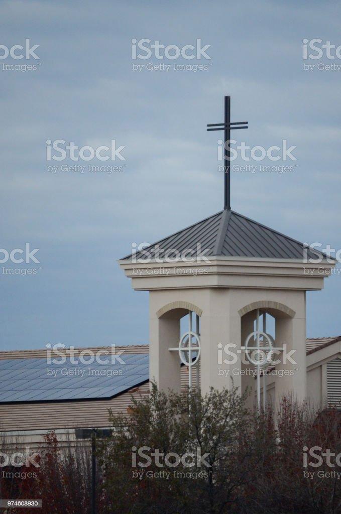 modern church with solar panels