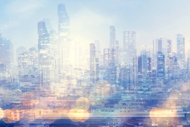 Modern city abstract background. stock photo