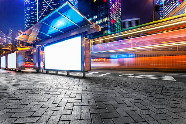 Modern city advertising light boxes in  hong kong stock photo