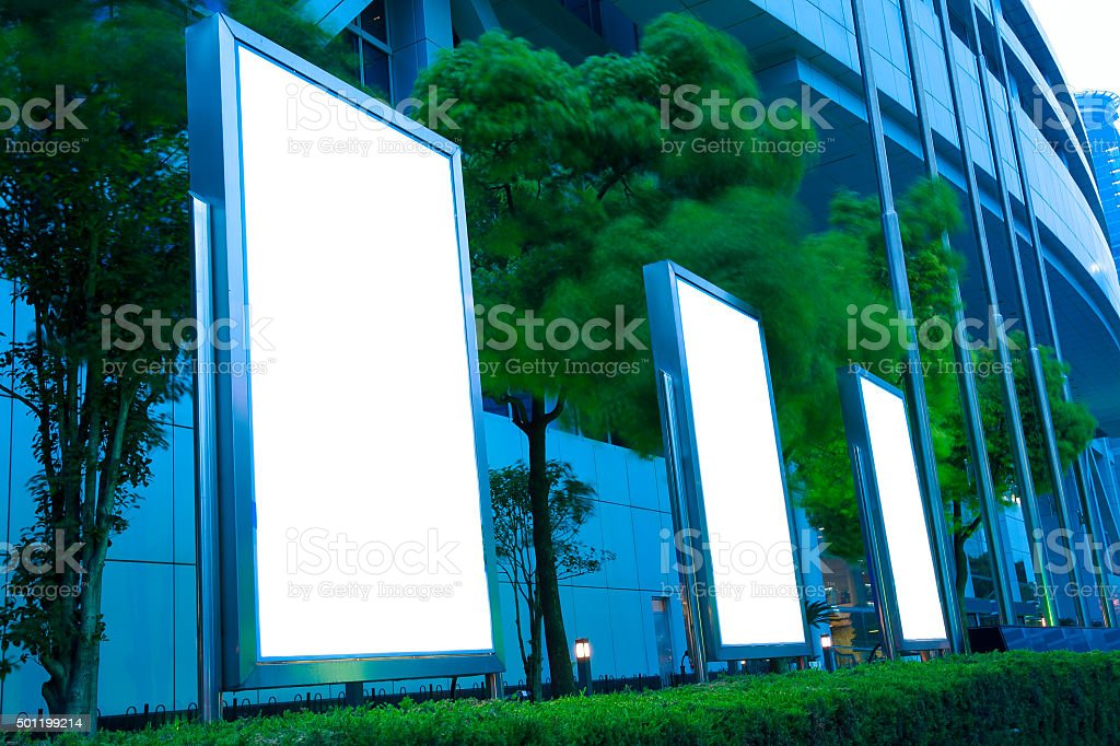 Modern city advertising light  boxes stock photo