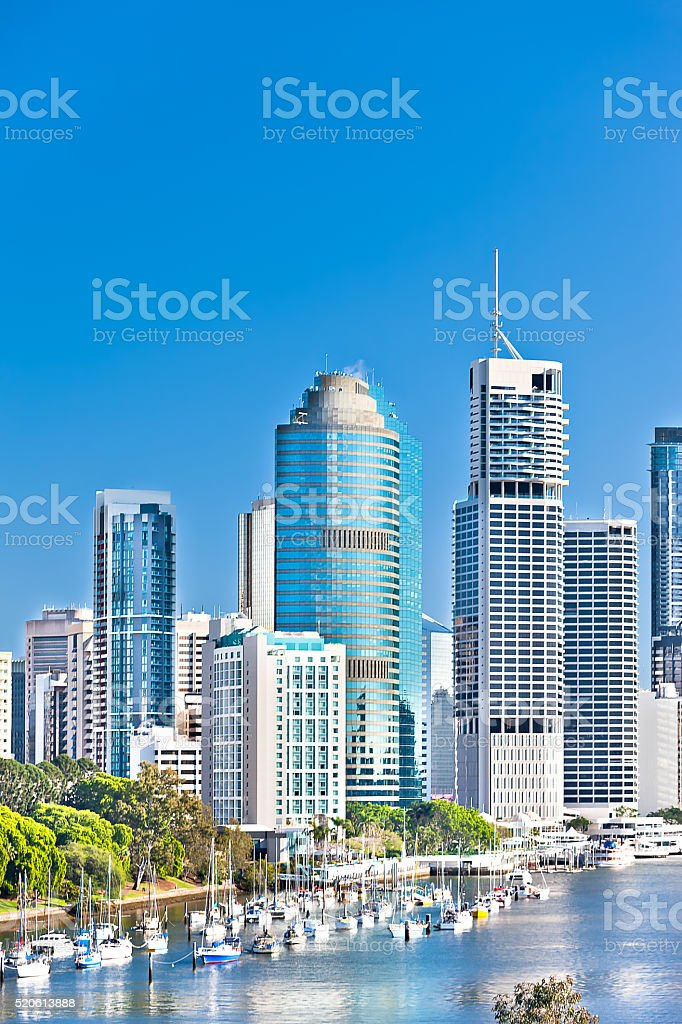 Modern city and buildings with blue sky background stock photo