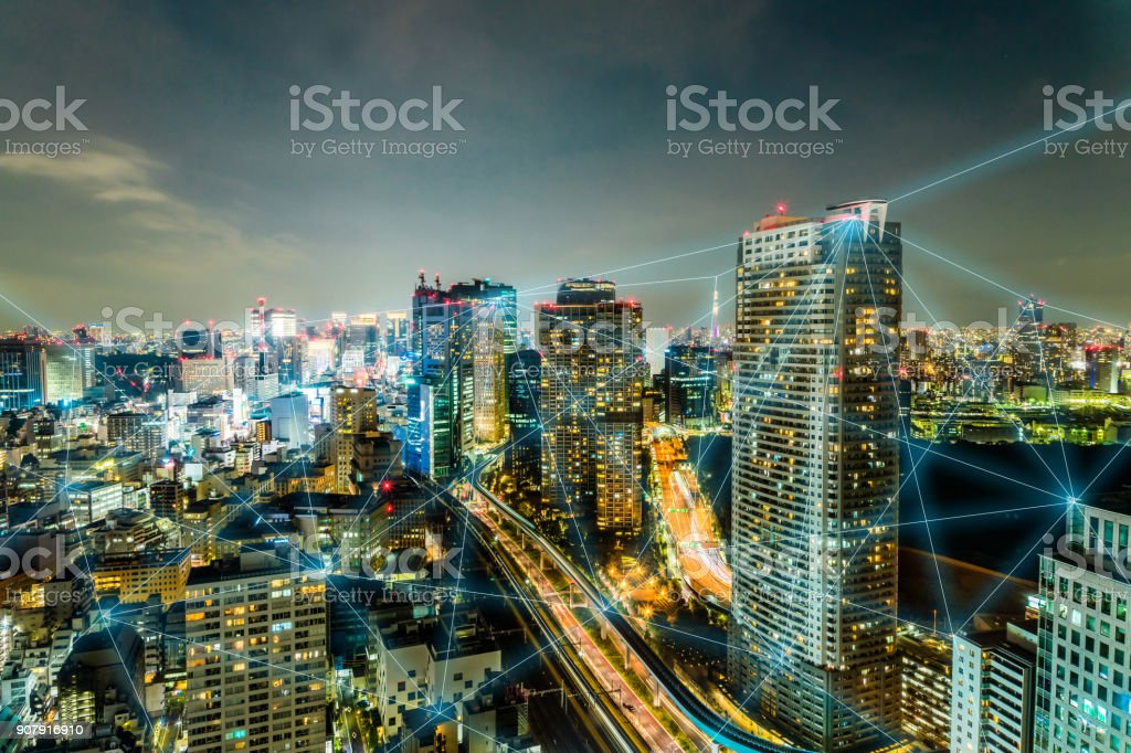Modern city and communication network concept. stock photo