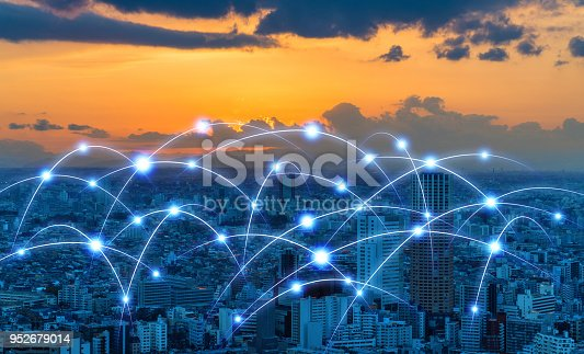 istock Modern city and communication network concept. 952679014
