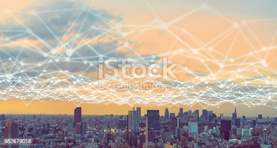 istock Modern city and communication network concept. 952679016