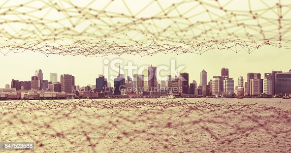 istock Modern city and communication network, Smart City. Internet of Things. Information Communication Network. Sensor Network. Smart Grid. Conceptual abstract. 847523588