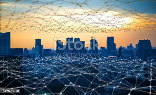 istock Modern city and communication network, Smart City. Internet of Things. Information Communication Network. Sensor Network. Smart Grid. Conceptual abstract. 847523618