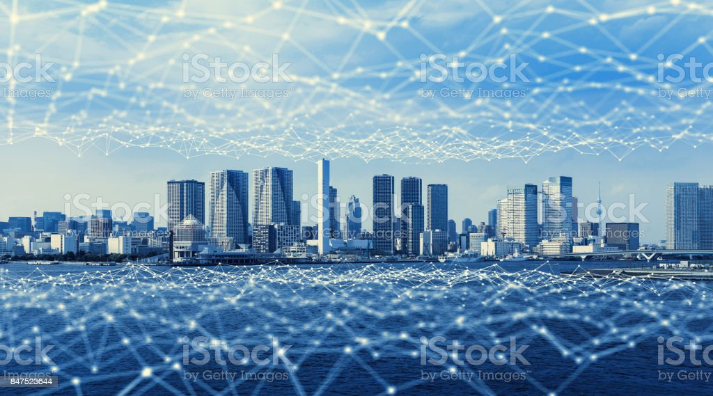 Modern city and communication network, Smart City. Internet of Things. Information Communication Network. Sensor Network. Smart Grid. Conceptual abstract. stock photo