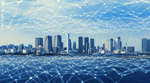 近代的な都市と通信ネットワーク、スマートシティ。物事のインターネット。情報通信ネットワーク。センサー ネットワーク。スマート グリッド。抽象的な概念。 - 未来都市 ストックフォトと画像