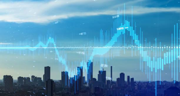 Modern city and financial technology concept. Fintech. stock photo