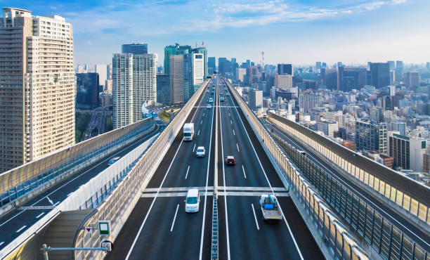 近代的な都市とフリーウェイのコンセプト。 - 車社会 ストックフォトと画像