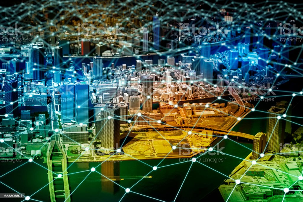 modern city and network grid pattern, IoT(Internet of Things), Sensor Network, Smart Grid, abstract image visual stock photo