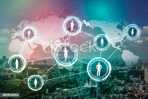istock modern city and world people network, abstract image visual 680846954