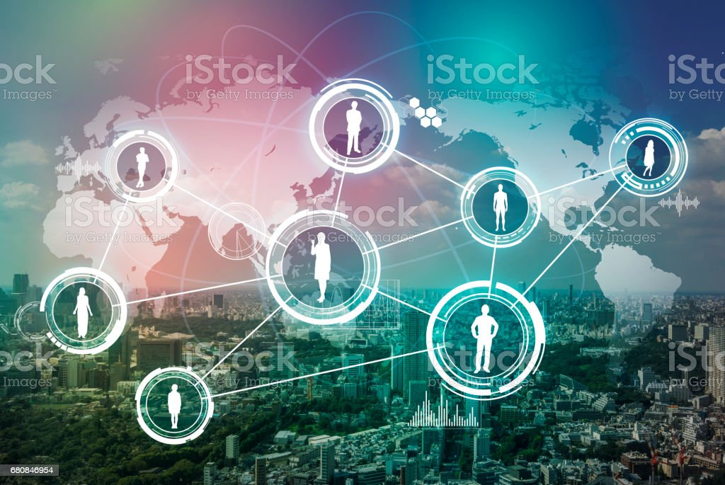 moderne stad en wereld mensen netwerk, abstracte visuele afbeelding foto