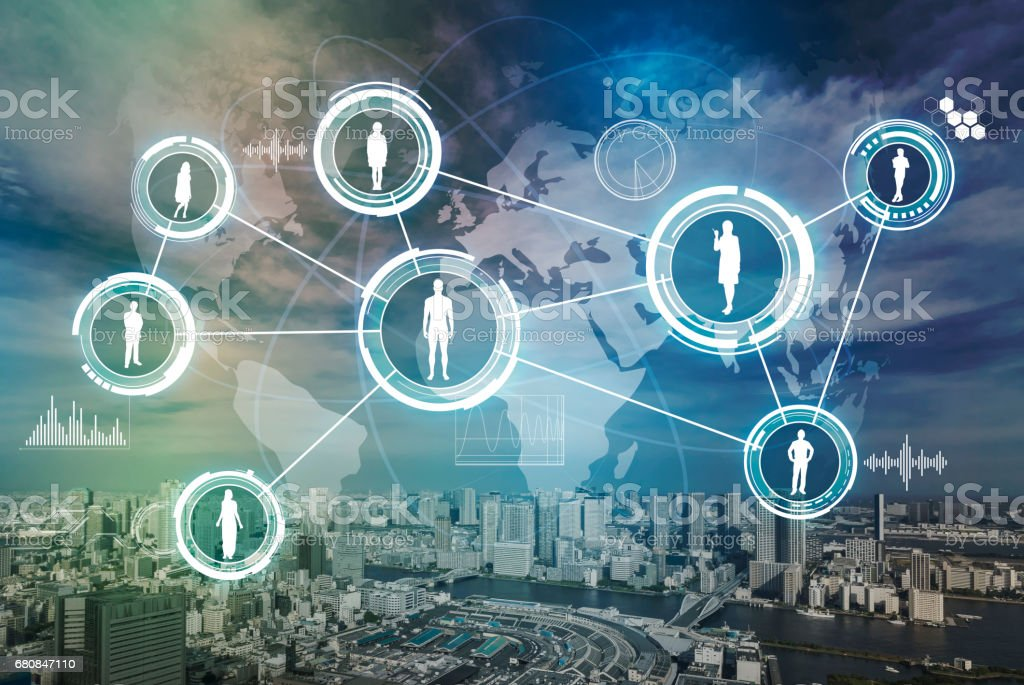 modern city and world people network, abstract image visual stock photo