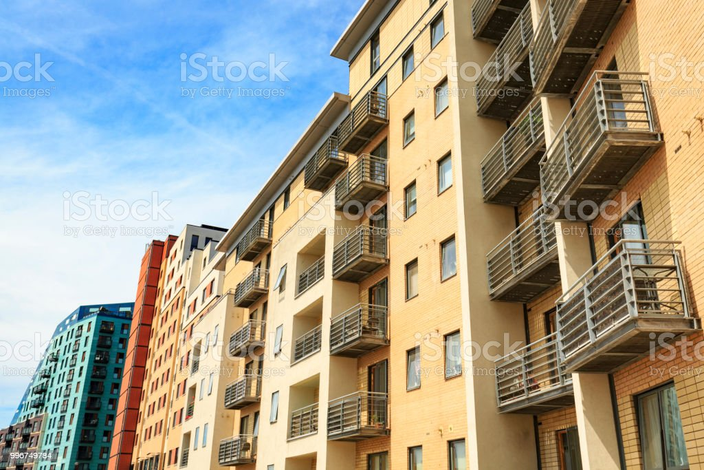 Modern city centre apartment building with balconies in Leeds stock photo